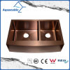 Rose Gold Color Double Bowl Stainless Steel Handmade Kitchen Sink (ACS3021A2RG)
