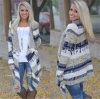 Fashion Mixed Color Irregular Sweater Knitted Cardigan (80018)