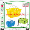 Steel Wire Double Handle Grocery Store Shopping Basket