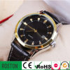 Stainless Steel Case Genuine Leather Strap Waterproof Business Men Watch