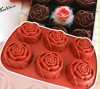 Red Rose Shape Silicone Cake Mold, Made of Silicone, Rose Cake Mold, Customized Design/Logo, OEM Ordersa Are Welcome