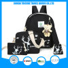 2017 Fashion Black Canvas Elk Printed Backpack Bag for a Set