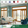 Double-Pane Storm Proof PVC Residential Wooden Color Sliding Door