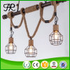 Vintage Industrial Hemp Rope Pendant Light with Birdcage Style