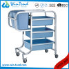 Square Tube Cleaning Clearing Bent Legs Garbage Trolley with Bin and Basket