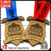 Customized Sport Old Gold Weightlifting Medal with Colorful Ribbon