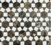Dark Emperador&Thassos Marble Sunflower Mosaics Natural Stone Tile