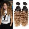 8A Ombre Brazilian Deep Curly Virgin Hair Deep Wave 3 Bundles Honey Blonde Ombre Deep Wave Brazilian Hair Weave Bundles