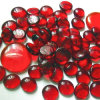 Red Flat Round Glass Gemstone