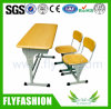 SF-05D Double Student Desk and Chair Wood School Furniture Fireproof Classroom Table