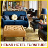 Wooden Leg Blue 2 Seater Couch Sofa/ Lounge Seating/Living Room Furniture Design