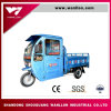 Large Cabine Loading 500kg Hybird Electric / Gasoline Tricycle with Hood