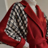 Black and White Houndstooth Red Patchwork Overcoat