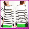 2014 Stylish Black & White Lady Long Sleeves Striped Women T-Shirt