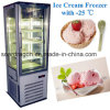 -25 Degrees Upright Ice Cream Freezer with 3 Sides Display Glass
