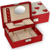 Red Durable Jewelry Box Linen Mirror Lock Gift Heart Box