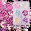 6 Colors/Set DIY Charms Micro Caviar Beads and Crystal Rhinestone and Glitter Sequins Jewelry Nails 3D Nail Art Decorations (ND10)