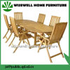 Oak Wood Outdoor Furniture Oval Extendalbe Table with Folding Chair
