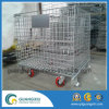 Wire Mesh Container with 2 Directional Wheels and 2 Steering Wheels