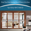 Soundproof 4 Panels Aluminum Sliding Door with Double Decorative Glasses Panel
