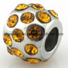 Fashionable Steel Jewelry Round Yellow CZ Bead