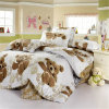 Kids Funky Queen Size Cotton Bedroom Bedding Set with Bear Printing (GT-09706)
