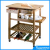 New Kyoto Bamboo Home Kitchen Storage Rolling Serving Cart Island Trolley