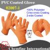 10g Orange 100% Polyester Knitted Glove with 2-Side Orange PVC Criss-Cross Coating/ En388: 124X