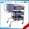 Round Tube Cleaning Clearing Bent Legs Garbage Trolley with Bin and Basket