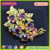 European Style! Silver Plated Rhinestone Metal Flower Brooch