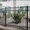 Three Rails Black Powder Coated Security Steel Fence for Sale