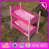 2015 Latest Quality Safe Wooden Pink Baby Toy Doll Bed, Beautiful Wooden Babg Doll Bed Toy, Mini Wooden Toy Doll Bed Toy W06b024