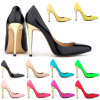 Patent Leather & Gold Heels Women Fashion Shoes
