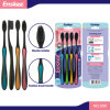 Adult Toothbrush with Soft Black Bristles 4 in 1 Economy Pack 896