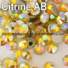 Non Hotfix Rhinestone Citrine Ab 16 Facets Flat Back Glitter Loose Stone DIY Nails Decoration Rhinestone Beads (TP-citrine ab)