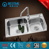 Sanitary Ware Double Sink Steel Kitchen Sink (BS-8002)