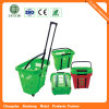 Supermarket Plastic Rolling Basket for Grocery (SGS Testing Approved)