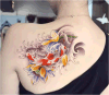 Fashionable Bright Carp Lotus Temporary Tattoo Sticker Art Tattoo