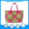 2017 New Fashion Knit PU Square Printed Tote Bag Beach Bag