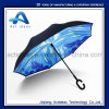 Handfree Reverse Inverted Upside Down Umbrella with C Shape Handle Promotional Umbrella