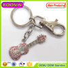 Fashion Design Metal CZ Stones Guitar Musical Instrument Keychain