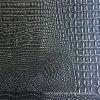 Black Silver Faux Crocodile Leather