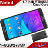 5.7inch Quad-Core Mtk6582 Galaxy Note 4 Mobile Phone