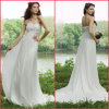 Strapless Chiffon Flowers Bridal Formal Gown Empire Wedding Dress (H004)