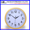 Gold Frame Logo Printing Round Plastic Wall Clock (Item21)