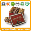 Embossed Rectangular Metal Nuts Tin Box for Gourmet Pecans