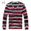 100% Polyester Men Long Sleeves V-Neck Collar Cotton T-Shirt