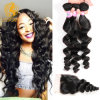 7A Peruvian Virgin Hair with Closure Hair Bundles with Lace Closure 3PCS Loose Wave with Peruvian Lace Closure Cheap Human Hair
