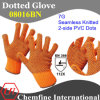 7g Orange Polyester/Cotton Knitted Glove with 2-Side Black PVC Dots/ En388: 112X