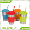 Stainless Steel Cups with Silicone Lids, Sleeves and Straws, 16 Oz Stainless Steel Tumblers by Steelware